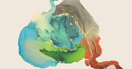Art Abstract painting blots horizontal long background. Alcohol ink colors. Marble texture.