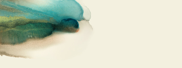 Art Abstract painting blots horizontal background. Alcohol ink colors. Marble texture.