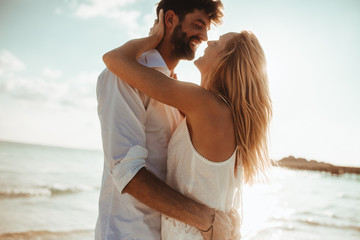 Couple in love on a holiday at the beach