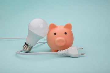Piggy bank with light bulb and plug on blue background.