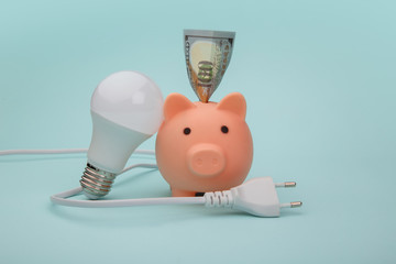 Piggy bank with money banknote, light bulb and plug on blue background. Power savings concept.