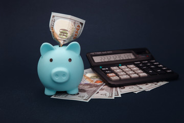 Business, finance, investment and saving concept - dollar cash money, calculator and blue piggy bank on table.