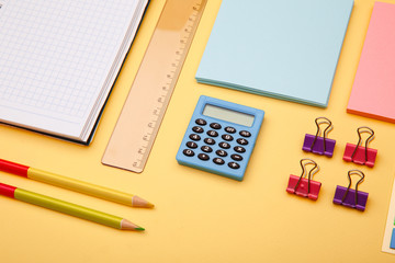 Back to school concept - school office supplies.