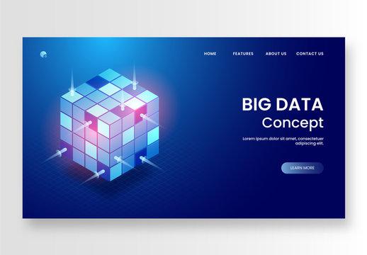 Big Data Website Hero Image Layout with Shiny Blue Cube