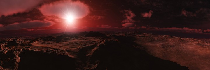 Photo sur Plexiglas Marron Alien landscape, Beautiful martian landscape at sunset, alien panorama, 3D rendering