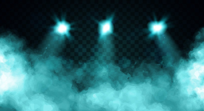Billowing clouds of turquoise blue smoke illuminated by three spot lights over a dark background, colored vector illustration