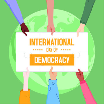 Vector of democracy day, hands joining puzzle, celebration of democracy
