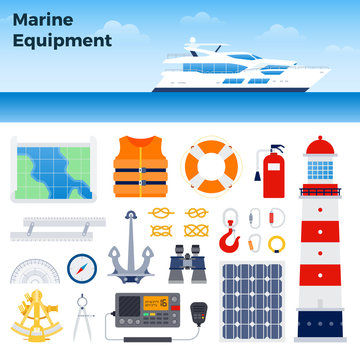 Motor yacht and marine equipment vector illustration in a flat design.
