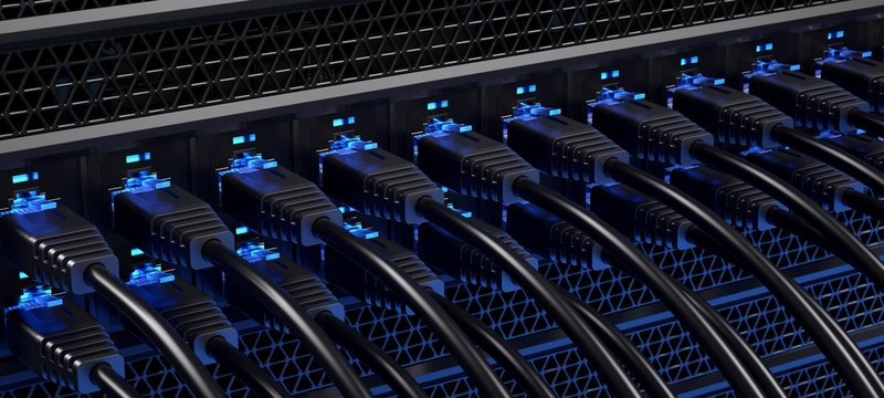 Closeup of the rear of a data center. Blue version.