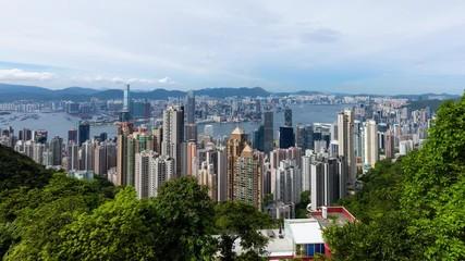Wall Mural - Timelapse of Hong Kong city skyline