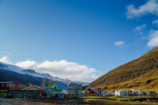 Vibrant town under the mountain range in Seydisfjordur, Iceland