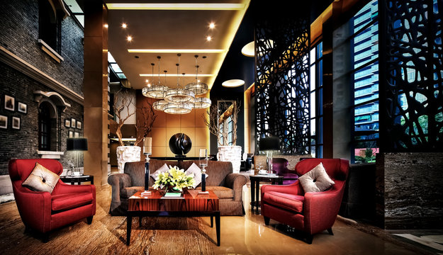 Luxurious and atmospheric living room interior building