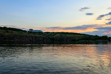 View of the Dnieper river at sunset