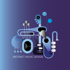Blue color shades concept music design. Vector illustration with guitar, saxophone and trumpets.