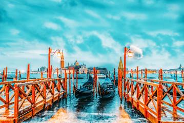 Wall Murals Gondolas Views of the most beautiful canal of Venice - Grand Canal water streets, and view on San Giorgio Maggiore (Chiesa di San Giorgio Maggiore). Italy.