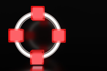 Red Blockchain technology icon. isolated on black background. neon light and glow concept. 3d illustration 3D render