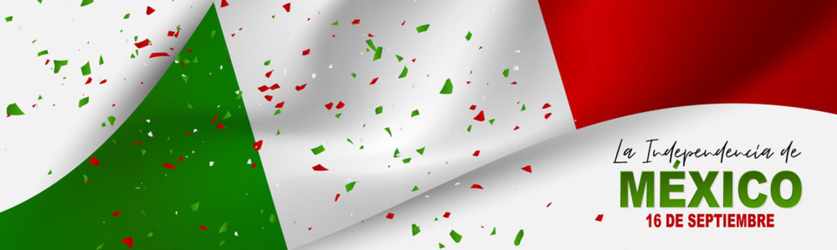 Mexico Independence Day banner. 16 September national holiday. Green, white, and red Mexican flag. Lettering in Spanish. Vector illustration.