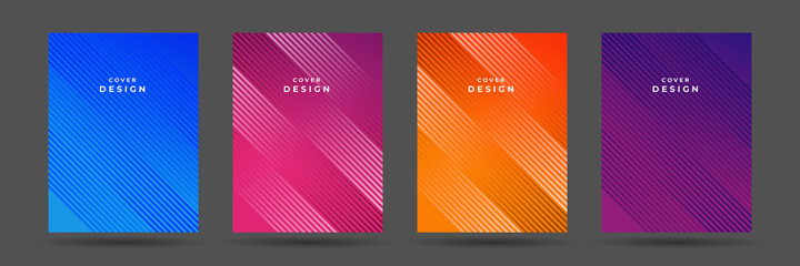 Abstract pattern texture book brochure poster cover gradient template vector set. Modern abstract covers set, minimal covers design. Colorful geometric background, vector illustration.