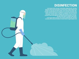 Man in hazmat. Protective suit, gas mask and gas cylinder for disinfection coronavirus. Toxic and chemicals protection. Spraying pesticides. Biological precaution. Vector flat illustration.