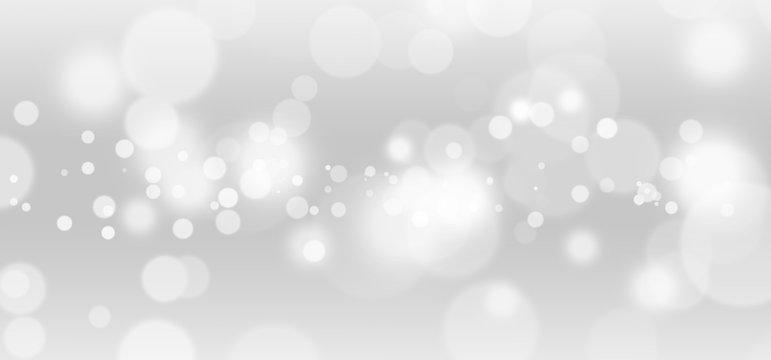 White lights bokeh, defocus glitter blur on gray background. illustration.