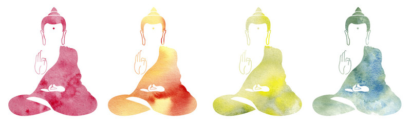 Set of Watercolor colorful buddha. Symbol of buddha isolated on white background. Indian, Buddhism, Spiritual motifs. Yoga, spirituality. Buddha silhouette for spa logo