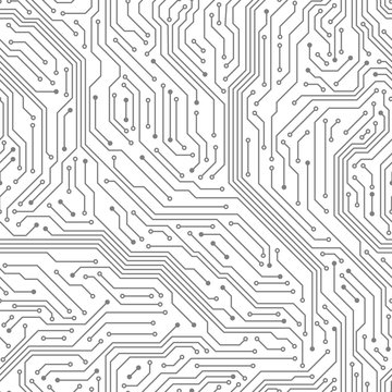Seamless circuit board. Digital technology electrical scheme printed motherboard computer chip electronic equipment pattern vector texture. Motherboard hardware, circuit scheme processor illustration