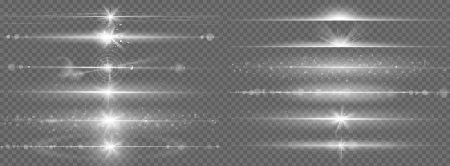 Glares lines effect. Horizontal optical lens flare light, night futuristic dusting glow strips, shining streaks, flash starlight vector set. Magic beam flare, bright lens glare horizontal illustration