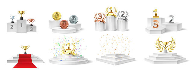 Winner podium, medal and cups. Trophies on illuminated podium for ceremony award, prizes on stair-steps pedestal, realistic vector set. Ceremony championship, pedestal winner award illustration - fototapety na wymiar