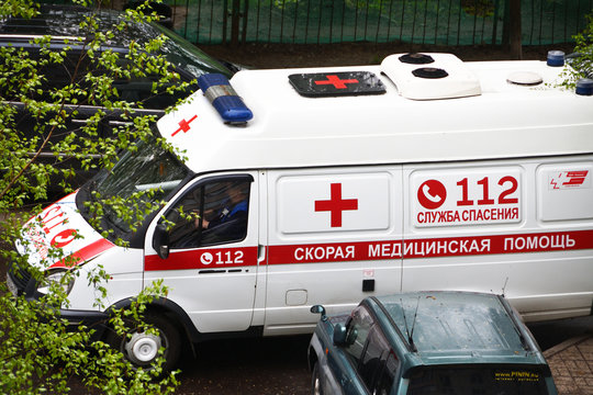 Balashikha, Moscow region, Russia, May, 10. 2020. An ambulance can't get into the yard because of parked cars