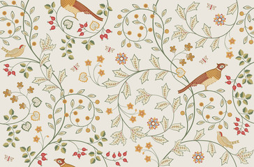 Vintage seamless ornament with plants, flowers and birds on light background. Middle ages William Morris style. Vector illustration.