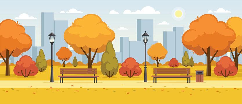 Autumn street, city park panoramic illustration.