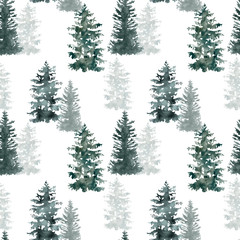 Winter pine tree forest seamless pattern. Christmas background. Watercolor hand painted illustration. Evergreen trees on white backdrop.