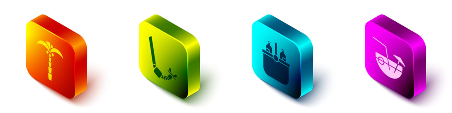 Set Isometric Tropical palm tree, Snorkel, Cooler bag and water and Coconut cocktail icon. Vector.