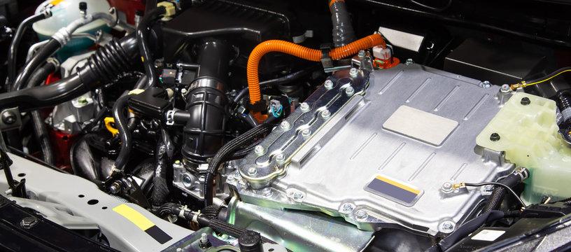 Close up of car hybrid engine. Hybrid electric car engine..