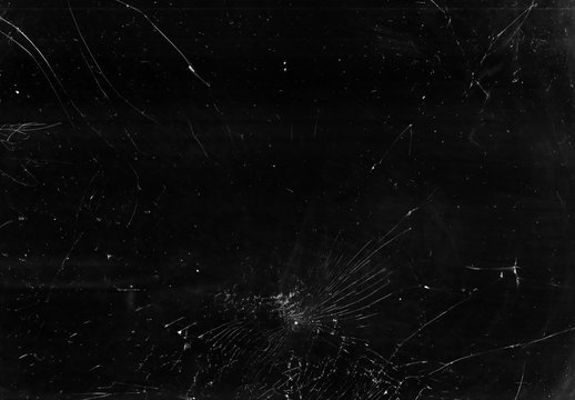 Broken glass overlay. Aged texture. Black cracked TV screen with white dust scratches effect.