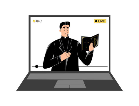 Pastor with a holy bible giving online church service, sermon online, video live streaming on laptop. Sermons and modern technology, watch online worship, priest praying online. Modern church concept