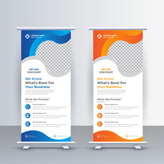 Roll up banner design template, abstract background, pull up design, modern x-banner, leaflet, and Brochure. Vector illustration