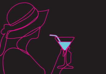 contour drawing of a woman holding a cocktail glass, pink line of a female profile isolated on black background,
