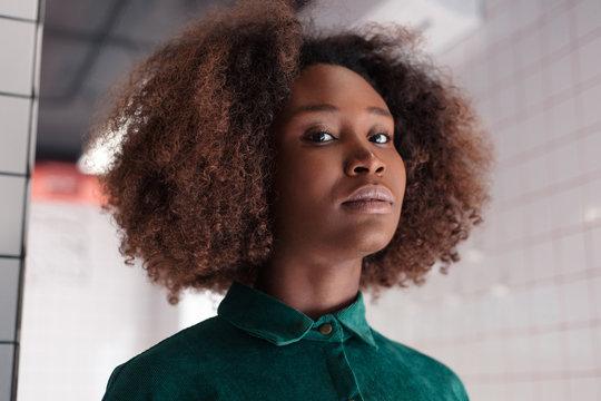 Sensual closeup portrait of young beautiful black african american woman