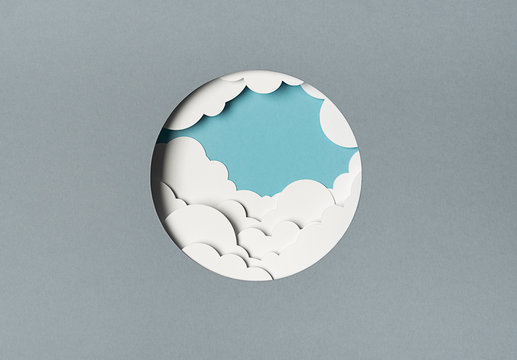 Cloudy sky seen from a porthole