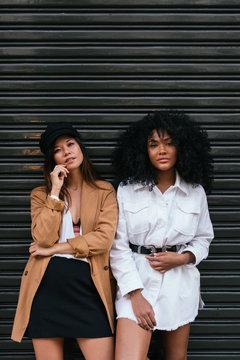 Black and asian friends portrait
