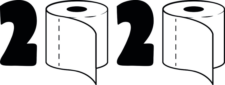 2020 Toilet Paper Roll Vector, Quarantine with Toilet Paper in Covid-19 Pandemic Panic