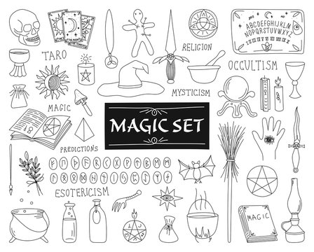 COLLECTION OF ATTRIBUTES FOR MAGIC ON A WHITE BACKGROUND