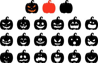 Obraz Jack O Lantern Halloween Pumpkin Vector Set wit Face Expressions - fototapety do salonu