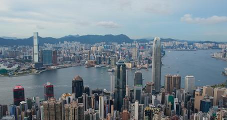 Wall Mural - Victoria Peak, Hong Kong 16 July 2020: Hong Kong landmark