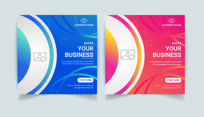 Editable Business Corporate Social media post Design template. Creative and modern web ads banner, square banner, promotional social ads design.