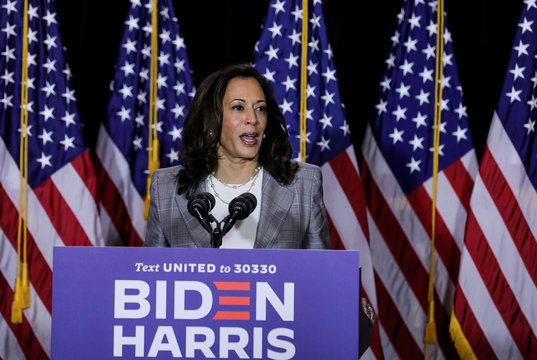 Democratic presidential candidate Biden and vice presidential candidate Harris discuss coronavirus response at campaign event in Wilmington, Delaware