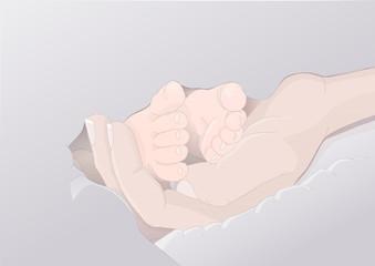 Obraz Stopki noworodka w kobiecej dłoni - otulone miękkim kocykiem - fototapety do salonu