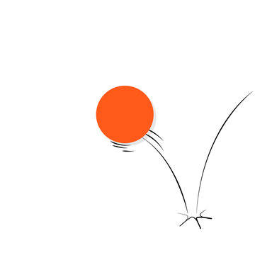 Illustration of a ball bouncing off a surface.