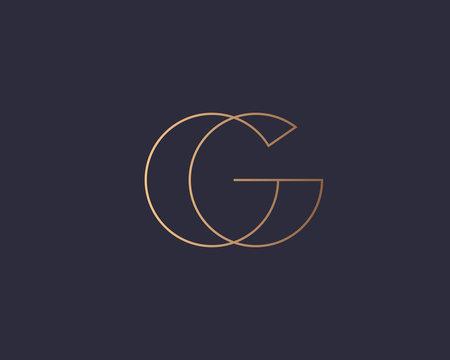 Abstract gradient linear monogram letter G logo icon design modern minimal style illustration. Premium alphabet vector line emblem sign symbol mark logotype